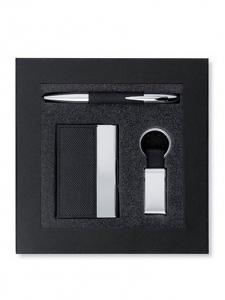 Coffret cadeau stylo porte clés et porte cartes